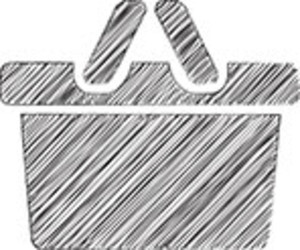 Scribbled Shopping Basket Icon On White Background