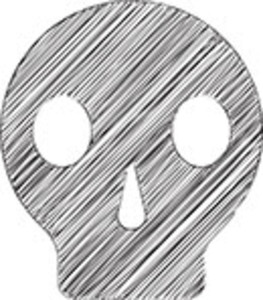 Scribbled Skull Icon On White Background
