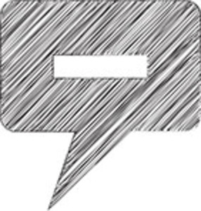 Scribbled Speech Bubble With Minus Sign On White Background