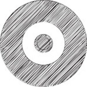 Scribbled Vinyl Record Icon On White Background
