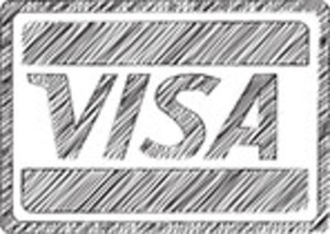 Scribbled Visa Icon On White Background