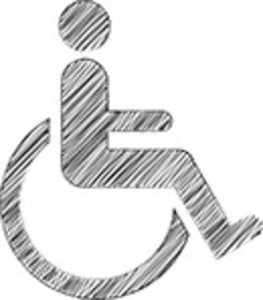Scribbled Wheelchair Icon On White Background