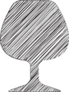 Scribbled Wine Glass Icon On White Background