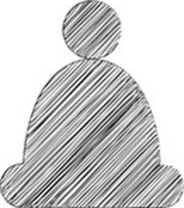 Scribbled Winter Cap Icon On White Background