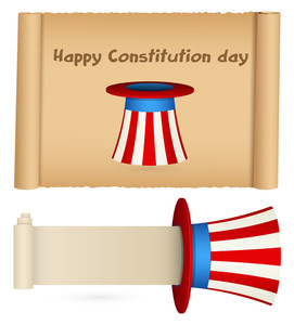 Scroll For Usa Theme Constitution Day Vector Illustration