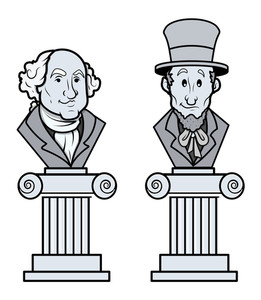 Sculpture Of Abraham Lincoln And George Washington Vector Clip-art