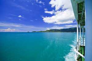 Sea and island on samui Thailand with window of boat