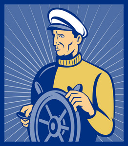 Sea Ship Captain At The Helm Steering Wheel