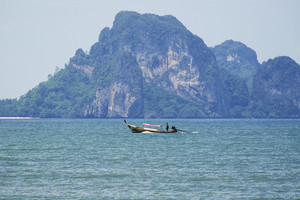 Sea view with boat at Krabi, Thailand