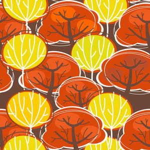 Seamless Background Made From Autumn Trees