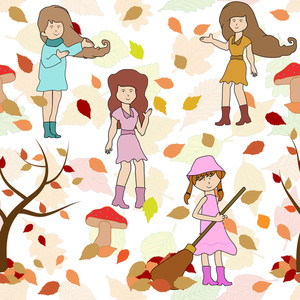 Seamless Background With Autumn Leaves And Girls.
