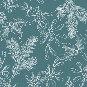Seamless Background With Fir Misletoe And Holly