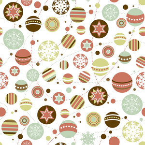 Seamless Christmas Background With Holiday Ornaments