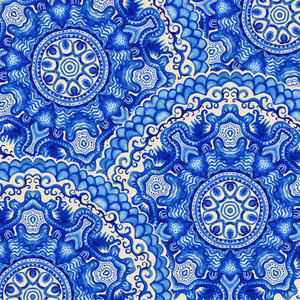 Seamless Doily Watercolor Vector Gzhel Pattern. Decorative White And Blue Ornament. Watercolor Vector Gzhel Illustration. Doily Pattern