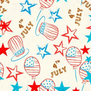 Padrão sem costura para o Dia da Independência americano 4 de julho
