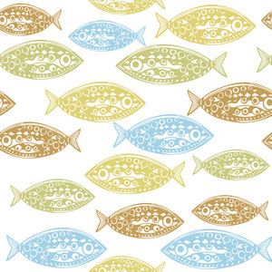 Seamless Pattern Of Fish. Abstract Texture