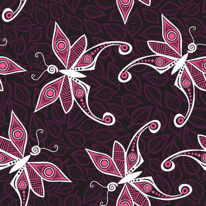 Seamless Pattern With Butterfly And Leaves. You Can Use It Separately.