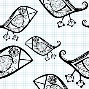 Seamless Pattern With Cartoon Birds.