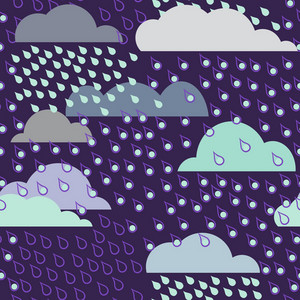 Seamless Pattern With Clouds And Rain