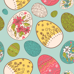 Seamless Pattern With Easter Eggs