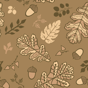 Seamless Pattern With Leaf And Acorns. Copy That Square To The Side And You'll Get Seamlessly Tiling Pattern Which Gives The Resulting Image The Ability To Be Repeated Or Tiled Without Visible Seams.