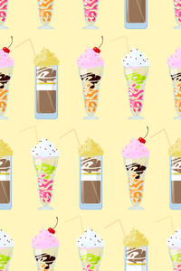 Seamless Pattern With Milkshakes. Vector Illustration