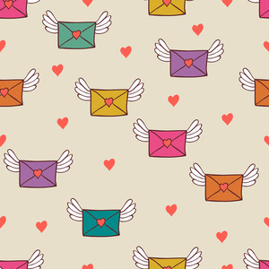 Seamless Pattern With Post Letters. Love Mail.