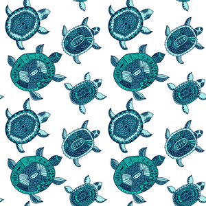 Seamless Pattern With Turtles. Seamless Pattern Can Be Used For Wallpaper