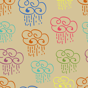 Seamless Rainy Season Pattern With Colorful Clouds