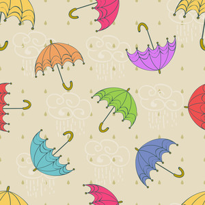 Seamless Rainy Season Pattern With Umbrellas