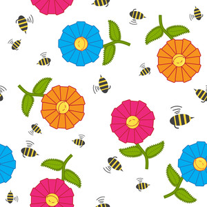 Seamless Texture With Cartoon Flowers And Bees. Vector Illustration.