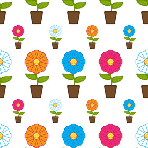 Seamless Texture With Cartoon Flowers. Vector Illustration.