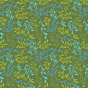 Seamless Texture With Leafs. Vector Illustration.