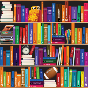 Seamless Vector Book Shelf Vector Pattern.