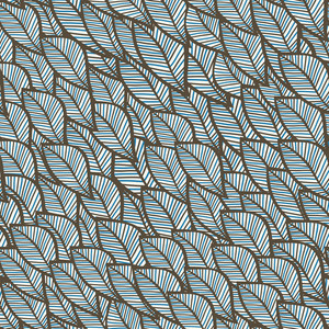 Seamless Winter Texture With Leaf In Blue Theme