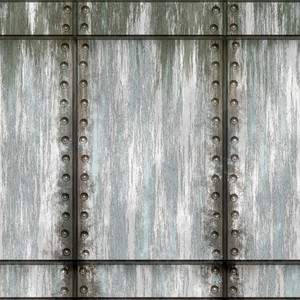 Seamless worn green metal texture with rivets that tiles as a pattern in any direction.