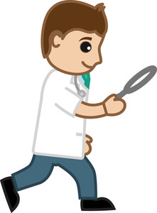 Searching With Magnifying Glass - Doctor & Medical Character Concept