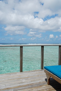 Seascape And Clouscape From Water Villa In Maldives