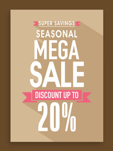 Seasonal Mega Sale poster banner or flyer design with 20% discount offer.