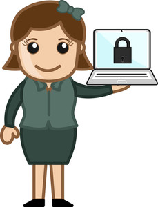 Secure Computer - Cartoon Vector