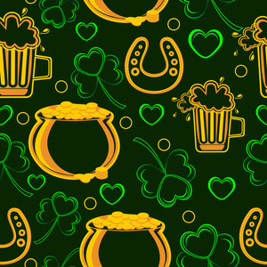 Seemles Pattern With The Ornaments Of Patrick's Day. Vector.