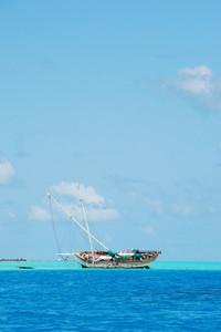 Semi-submerged Typical Ship On Maldives