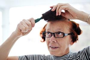 Senior lady hair comb