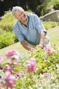 Senior man working in garden using trowel