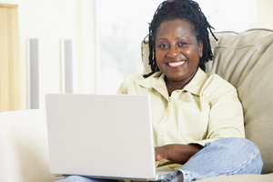 Senior women using a laptop