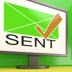 Sent Envelope On Monitor Showing Delivered Messages