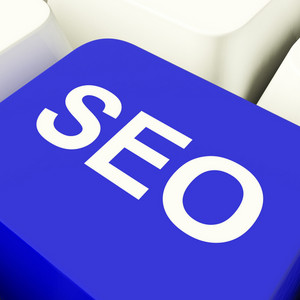 Seo Computer Key In Blue Showing Internet Marketing And Optimization
