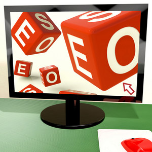 Seo Dice On Computer Showing Online Web Optimization