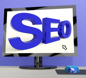 Seo Word On Computer Showing Online Web Optimization
