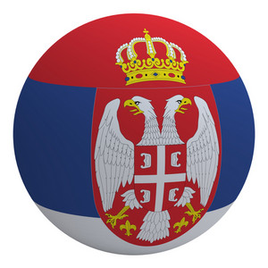 Serbia Flag On The Ball Isolated On White.